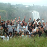 Kids in front of Howick Falls